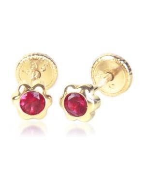 Cercei de aur 14k nou nascuti bebelusi floricele 4mm cu piatra rosie Cercei din aur