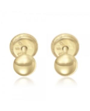 Cercei aur galben 18K cu surub nou nascuti bebelusi Semisfere Cercei din aur