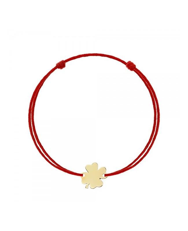 Bratara rosie cu aur galben 14k TRIFOI bebelusi copii Botez 8mmm Acasa