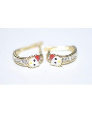 Cercei aur 14K copii si fetite semirotunzi Hello Kitty pietre albe 9mm Cercei din aur