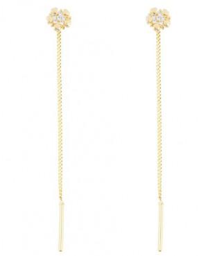Cercei de aur 14K lungi lantisor femei Floricele Cercei aur lungi