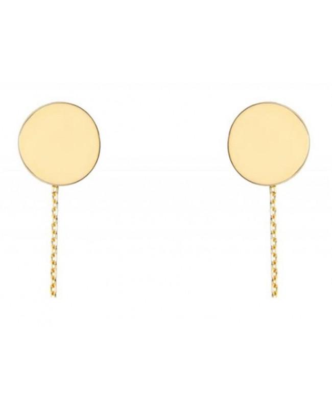Cercei de aur 14K lungi simpli lantisor mobil dama BANUT 1cm Cercei aur lungi