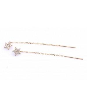 Cercei din aur 14K ieftini lungi lantisor Stelute pietre albe 6 mm Cercei aur lungi
