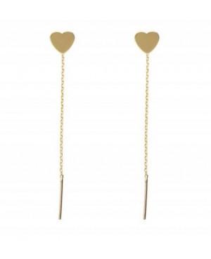 Cercei de aur 14K lungi cu lantisor femei INIMIOARE 7 mm Cercei aur lungi