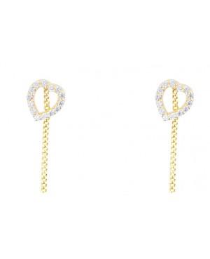 Cercei de aur 14k dama lungi cu lantisor model Inimioare cu pietre Cercei aur lungi