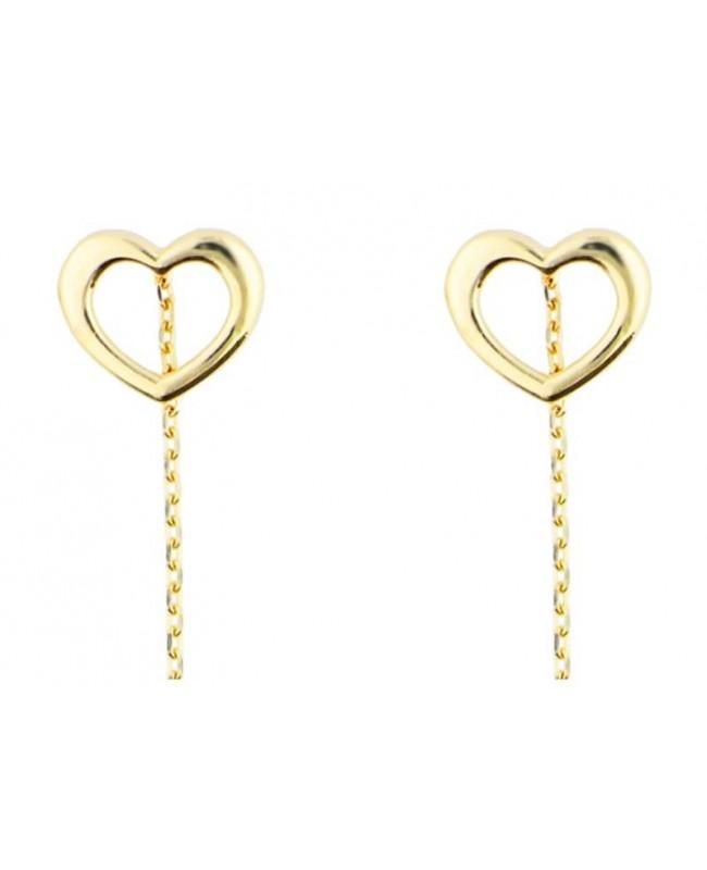 Cercei din aur lungi femei cu lantisor model Inimi goale 1 cm Cercei aur lungi