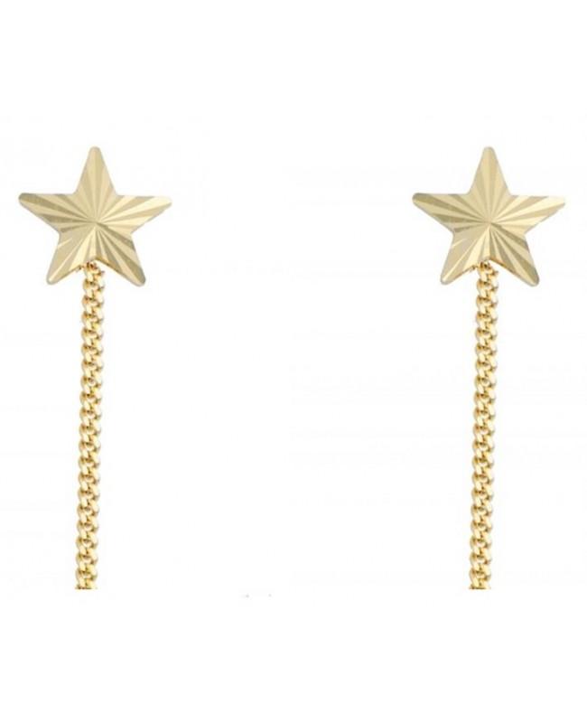 Cercei din aur galben ieftini femei lungi cu lantisor model Stelute cu striatii Cercei aur lungi