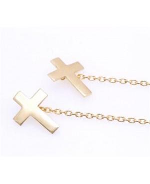 Cercei lungi femei din aur galben 14k ieftini cu lantisor Cruce Cercei aur lungi