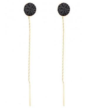 Cercei aur galben 14k dama lungi cu lantisor model Cerc cu pietre negre Cercei aur lungi