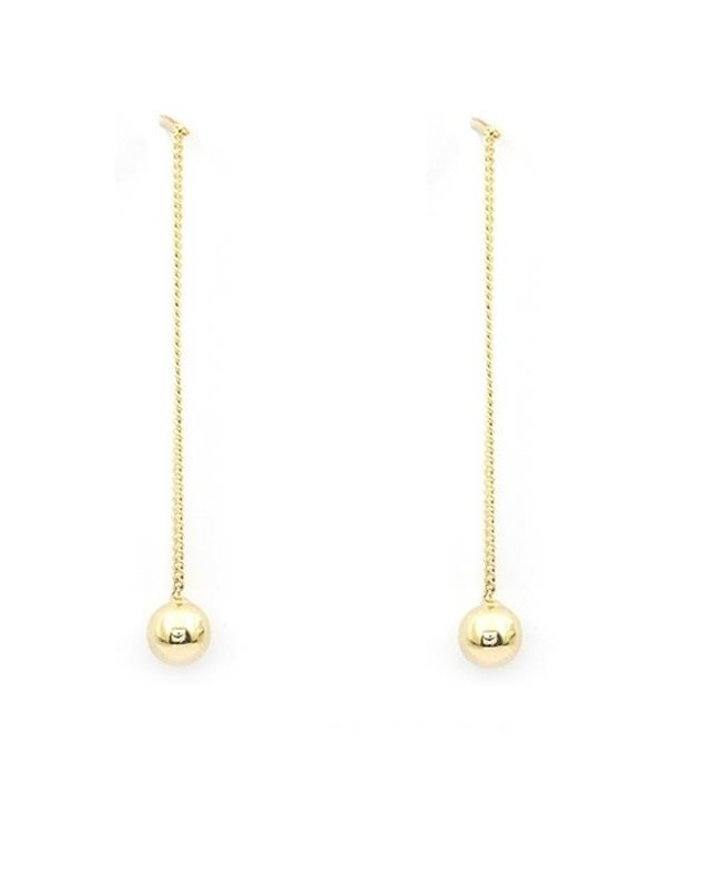 Cercei din aur lungi cu lantisor pentru femei Bilute 5 mm Cercei aur lungi