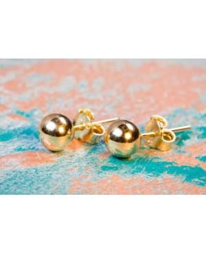 Cercei aur galben 14k dama cu surub Bilute lucioase 5 mm Cercei din aur dama