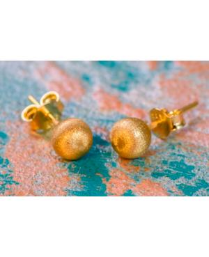 Cercei aur galben 14k dama cu surub Bilute sidefate 6 mm Cercei din aur dama