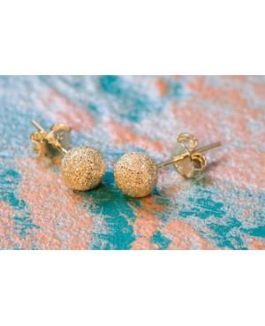 Cercei aur galben 14k dama cu surub Bobite diamantate 6 mm Cercei din aur dama