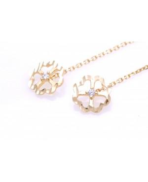 Cercei aur lungi dama cu lantisor model TRIFOI Cercei aur lungi
