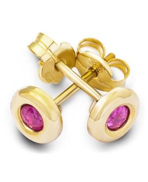 Cercei aur galben 9k dama cu surub cu rubine naturale Cercei din aur dama