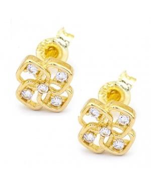 Cercei aur galben 14k dama cu surub Floricele cu zirconii albe Cercei din aur dama