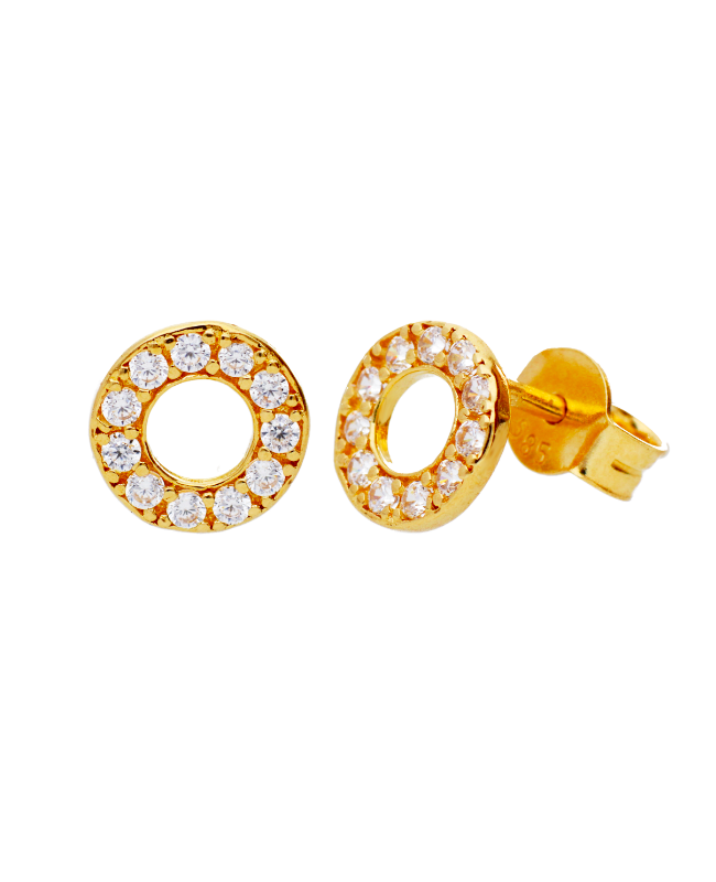 Cercei aur galben 14k dama cu surub Cerc cu zirconii albe Cercei din aur dama