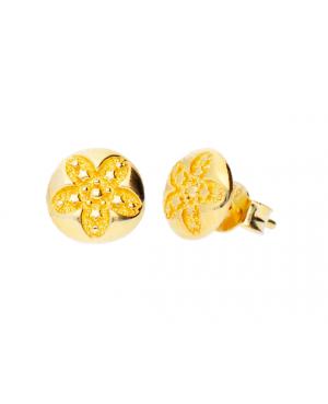 Cercei de aur galben 14k dama cu surub Bilute cu floricele Cercei din aur dama