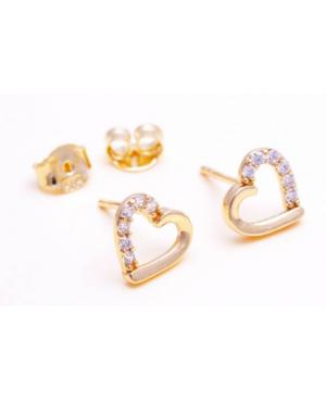 Cercei de aur 14K INIMI cu surub si pietre Zirconiu Cercei din aur dama