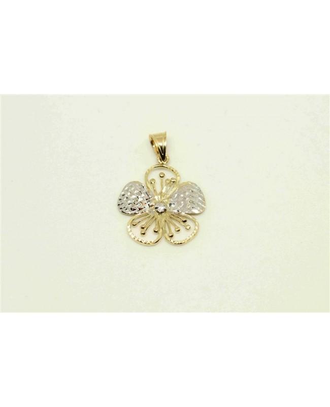Medalion din aur galben 14k Floare dantelata Acasa
