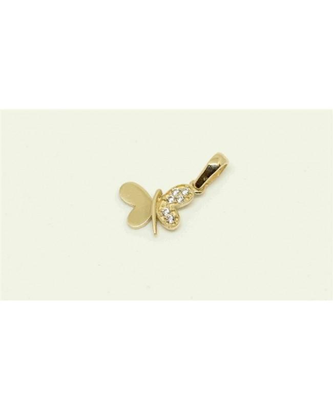 Pandantiv din aur galben 14k Fluturas cu zirconii Acasa
