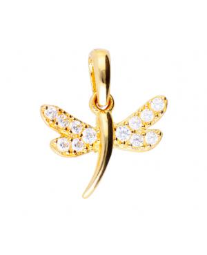 Pandantiv din aur galben 14k Libelula cu zirconii Acasa