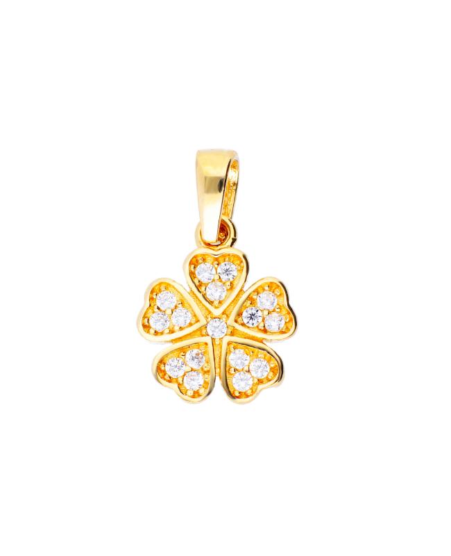Pandantiv din aur galben 14k Trifoi cu zirconii Acasa