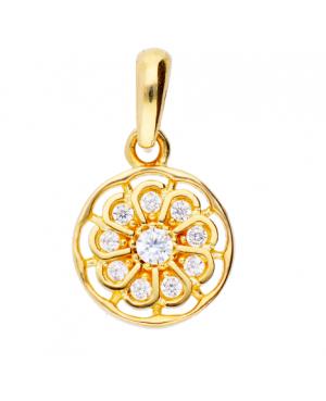 Pandativ din aur 14k cadouri femei Floare cu pietre albe Acasa