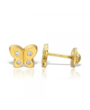Cercei de aur 14K nou nascuti bebelusi cu surub Fluturasi cu 4 pietre Cercei din aur