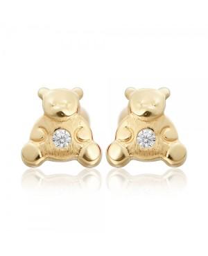 Cercei din aur galben 14k copii fetite Ursuleti Cercei din aur