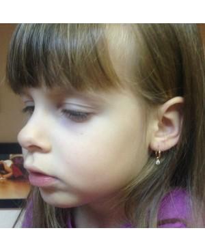Cercei de aur alb 14K copii fetite rotunzi cu Tortite piatra detasabila 9 mm Cercei din aur