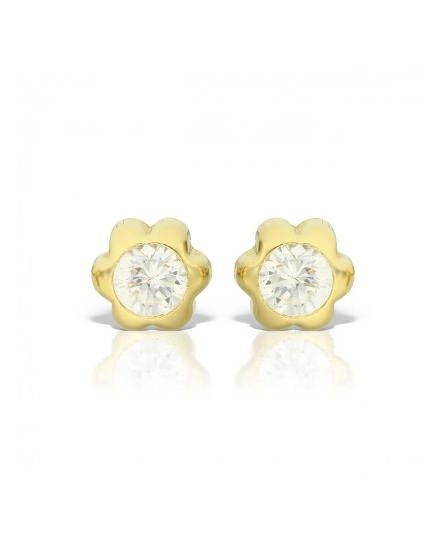 Cercei din aur galben bebelusi nou nascuti Floricele cu piatra 4mm Cercei din aur