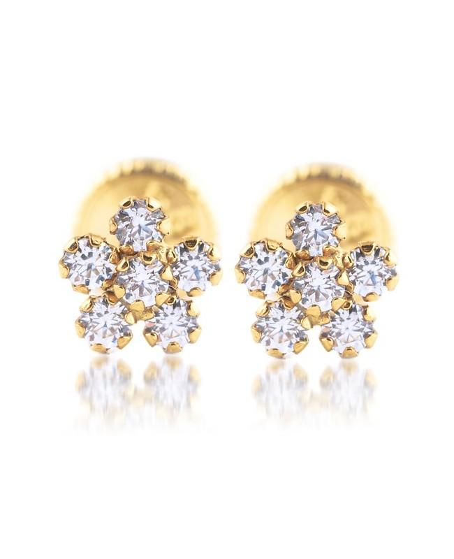 Cercei de aur 14K cu surub copii bebelusi Flori cu pietre mici 5mm Cercei din aur