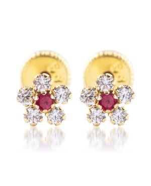 Cercei aur 14k cu protectie nou nascuti bebelusi Flori cu pietre alb rosu 5mm Cercei din aur