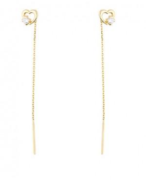 Cercei de aur lungi lant dama cu Inimioare Cercei aur lungi