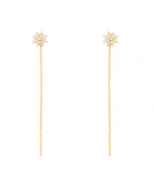 Cercei aur galben 14k dama lungi cu lantisor model Floricele Cercei aur lungi