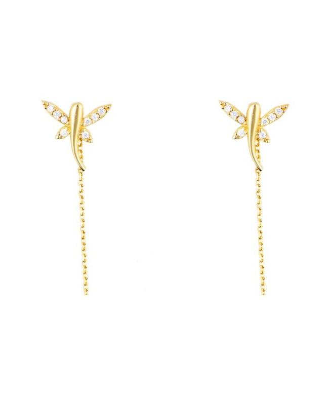 Cercei de aur lungi lantisor dama cu LIBELULE elegante Cercei aur lungi