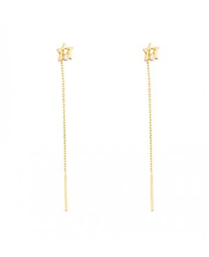 Cercei lungi aur dama ieftini STELUTE cu pietre cu lantisor mobil Cercei aur lungi
