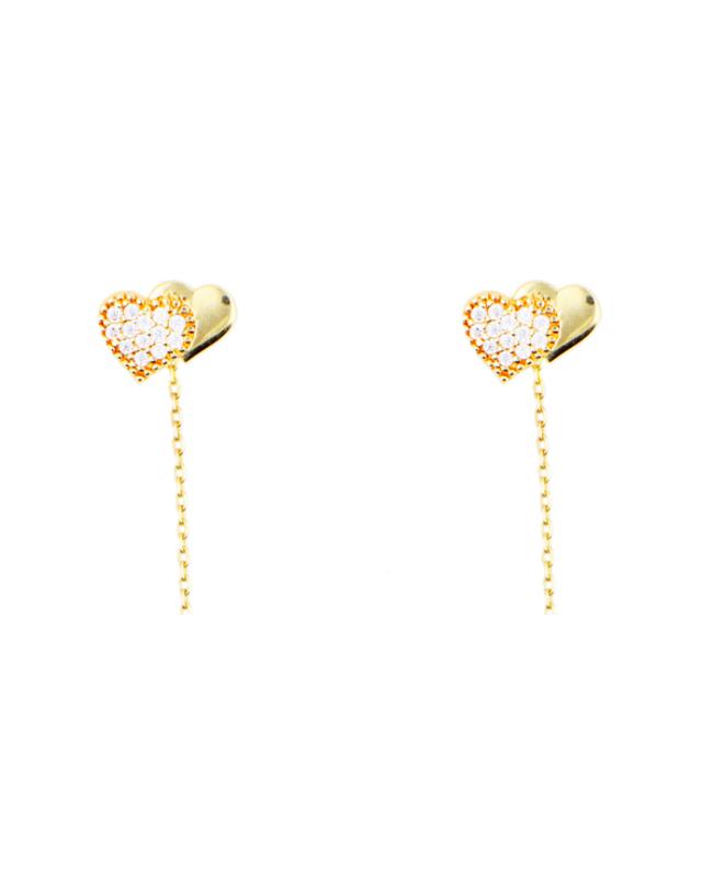 Cercei aur galben 14K lungi cu Inimioare lantisor mobil Cercei aur lungi
