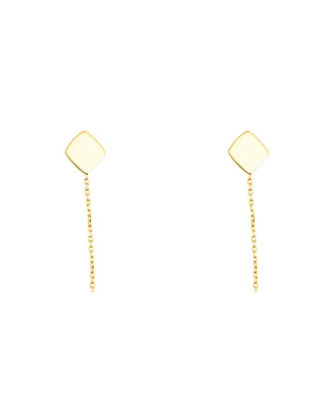 Cercei de aur 14K lungi simpli lantisor mobil dama ROMB Cercei aur lungi