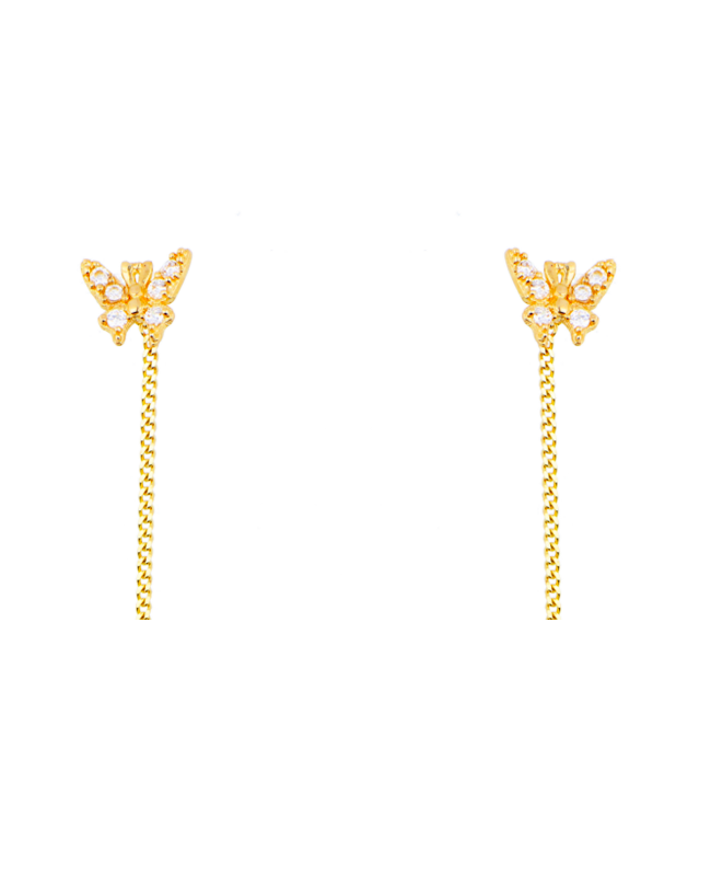 Cercei de aur 14K lungi ieftini lantisor dama model Fluturasi Cercei aur lungi
