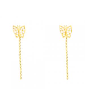 Cercei dama cu lant aur 14k pandant Fluturas cu pietre Cercei aur lungi