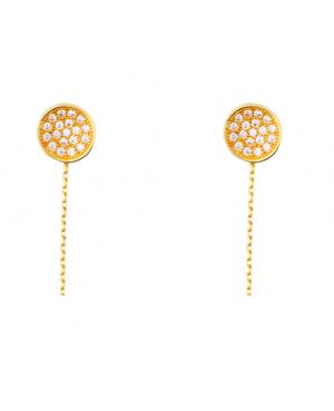 Cercei din aur lungi femei cu lantisor model spectaculos cu pandant Cercei aur lungi