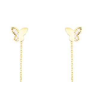 Cercei din aur lungi simpli cu lantisor pandant Fluturas cu pietre Cercei aur lungi