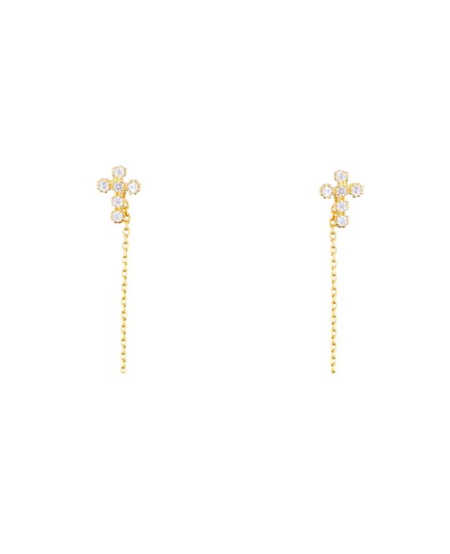 Cercei lungi din aur 14k cu lantisor Cruciulita cu pietre 8 mm Cercei aur lungi
