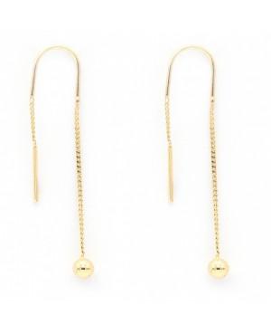 Cercei din aur lungi cu lantisor pentru femei Bilute Cercei aur lungi