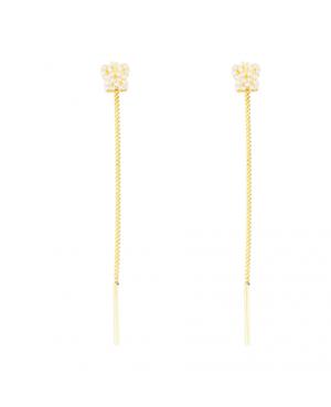 Cercei aur galben 14K lungi cu Fluturas lantisor mobil Cercei aur lungi