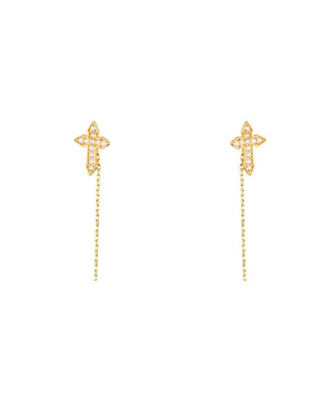 Cercei din aur lungi simpli cu lantisor pandant Cruce cu pietre Cercei aur lungi