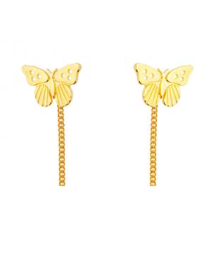Cercei din aur lungi cu lantisor pentru femei Fluturasi Cercei aur lungi
