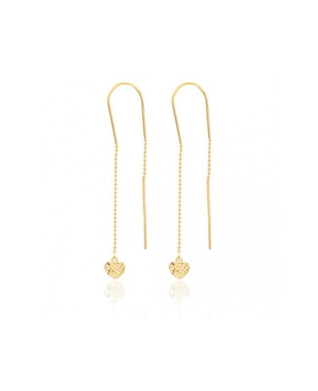 Cercei din aur lungi femei cu lantisor cu pandant Inimioare Cercei aur lungi